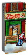 Verdun Hockey Game Corner Landmark Restaurant Depanneur Pierrette Patate Winter Montreal City Scen Portable Battery Charger by Carole Spandau