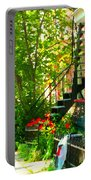 Verdun Stairs Red Flowers On Winding Staircase Tall Shade Tree Montreal Summer Scenes Carole Spandau Portable Battery Charger