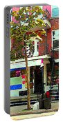 Verdun Variety Store Summer Street Scene Montreal Depanneur Double Staircases Carole Spandau Portable Battery Charger