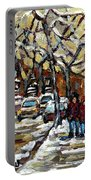 Verdun Winter Row Houses In January Montreal Paintings Time For A Walk Carole Spandau Portable Battery Charger