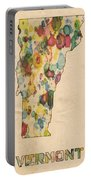 Vermont Map Vintage Watercolor Portable Battery Charger