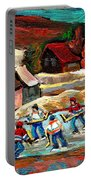 Vermont Pond Hockey Scene Portable Battery Charger by Carole Spandau