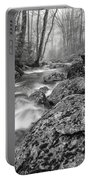 Vermont River Fog Mount Mansfield Black And White Portable Battery Charger