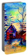 Vermont Winterscene In Blues By Montreal Streetscene Artist Carole Spandau Portable Battery Charger