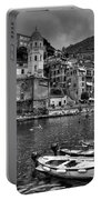 Vernazza - Cinque Terre In Grey Portable Battery Charger