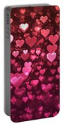 Vibrant Pink And Red Bokeh Hearts Portable Battery Charger