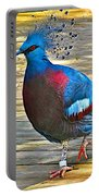 Victoria Crowned Pigeon In San Diego Zoo Safari In Escondido-california Portable Battery Charger