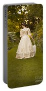 Victorian Woman In A Formal Garden Portable Battery Charger
