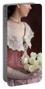 Victorian Woman With Roses Portable Battery Charger