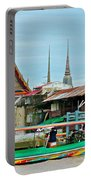 View Of A Temple From Waterway Of Bangkok-thailand Portable Battery Charger