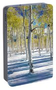 View Of Aspens In Fresh Winter Snow Portable Battery Charger