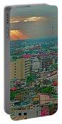 View Of Sun Setting Over Bangkok Buildings From Grand China Princess Hotel In Bangkok-thailand Portable Battery Charger
