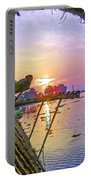 View Of Sunrise From A Houseboat Portable Battery Charger