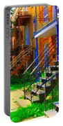 View Of Verdun Steps Stairs Staircases Winding Through Summer  Montrealstreet Scenes Carole Spandau Portable Battery Charger