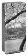 View Through The Trees To Longs Peak Bw Portable Battery Charger