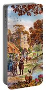 Village In Autumn Portable Battery Charger