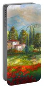 Village With Poppy Fields  Portable Battery Charger