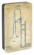 Vintage 1902 Slide Trombone Patent Artwork Portable Battery Charger