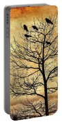 Vintage Blackbirds On A Winter Tree Portable Battery Charger