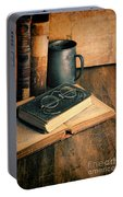 Vintage Books And Eyeglasses Portable Battery Charger