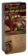 Vintage Car Advertisement 1939 Oldsmobile On Worn Faded Paper Portable Battery Charger