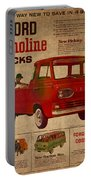 Vintage Car Advertisement 1961 Ford Econoline Truck Ad Poster On Worn Faded Paper Portable Battery Charger