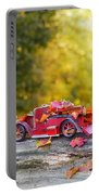 Vintage Car With Autumn Leaves Portable Battery Charger