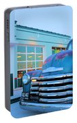 Vintage Chevrolet At The Gas Station Portable Battery Charger