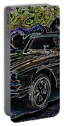 Vintage Chevy Corvette Black Neon Automotive Artwork Portable Battery Charger