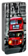 Vintage Double Decker In London Portable Battery Charger