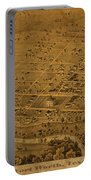 Vintage Fort Worth Texas In 1876 City Map On Worn Canvas Portable Battery Charger by Design Turnpike