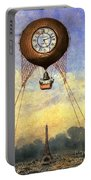 Vintage Hot Air Balloon Over Eiffel Tower Portable Battery Charger