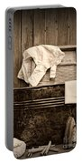 Vintage Laundry Room In Sepia Portable Battery Charger