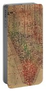Vintage Manhattan Street Map Watercolor On Worn Canvas Portable Battery Charger