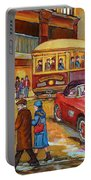 Vintage Montreal-st.catherine And Union-couples And Streetcars Portable Battery Charger