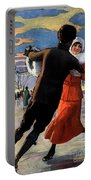 Vintage Poster Couples Skating At Christmas On Frozen Pond Portable Battery Charger