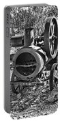 Vintage Steam Tractor Black And White Portable Battery Charger by Douglas Barnard