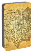 Vintage United States Highway System Map On Worn Canvas Portable Battery Charger