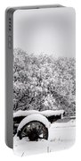 Vintage Wagon In Snow And Fog Filled Valley Portable Battery Charger