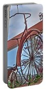 Vintage Wrought Iron Bike In Window Art Prints Portable Battery Charger