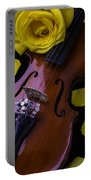 Violin With Yellow Rose Portable Battery Charger