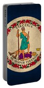 Virginia State Flag Art On Worn Canvas Portable Battery Charger