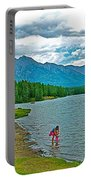 Wading In Johnson Lake In Banff Np-alberta Portable Battery Charger