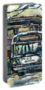 Waiting For The 80 Bus Montreal Memories Winter City Scene Painting January Art Carole Spandau Art Portable Battery Charger