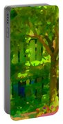 Walk In The City Past Blue Houses Staircases And Shade Trees Montreal Summer Scene Carole Spandau Portable Battery Charger