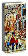 Walking The Dog By Balconville Winter Street Scenes Art Of Montreal City Paintings Carole Spandau Portable Battery Charger