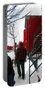 Walking The Dog Through Snowy Streets Of Montreal Urban Winter City Scenes Carole Spandau Portable Battery Charger