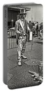 Walking The Gator On Bourbon St. Nola Black And White Portable Battery Charger