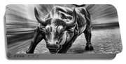 Wall Street Bull Black And White Portable Battery Charger