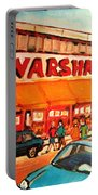 Warshaw's Bargain Fruit Store Montreal Street Scenes Paintings City Scene Art Carole Spandau Portable Battery Charger